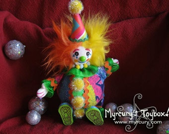 Clown! Party the Clown! Handmade One of a Kind Art Doll - Roly Poly Cute Clown Friend! OOAK!