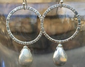SALE -- silver hammered circles with silver brushed teardrop