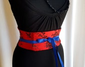 Cherry Blossom Brocade Mini Red and Black Corset Obi  - Sash Waist Cincher Belt Made to Order