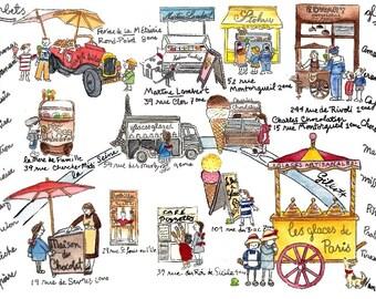 Paris Maps:6-month subscription. An illustrated Paris map each month + Macaron watercolor bonus