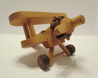 Airplane wooden small Bi Plane  toy Heirloom Quality  Oak and Mahogany Beautifully hand  finished with all natural beeswax