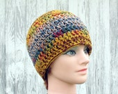 Crochet Beanie Hat - Two Tone Skull Cap in Earth Tone Colors - Hats by Mike ©