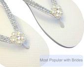 Bridal Flip Flops, Bridal FlipFlop, Wedding Flip Flops, Pearls Rhinestone Flip Flops, Bridesmaid, Beach Wedding Footwear - Custom Colors