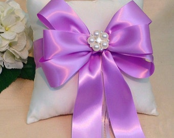 Orchid Ring Bearer Pillow - Ivory Ring Pillow - White Ring Pillow - Orchid Wedding - Orchid Ring Pillow - Bridal Pillow  - Custom Bow Colors