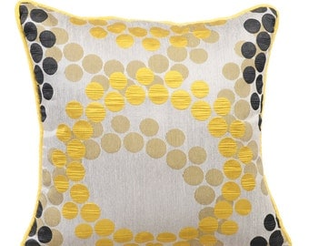 Yellow Couch Cushion Covers 16 x 16 Pillow Covers Silk Jacquard Patterned Decorative Pillows - Yellow Polka
