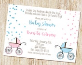 Twin Baby Shower Invitation - Digital File or PRINTED - Twin Shower - Boy girl twins - Sip and See - Sip n See