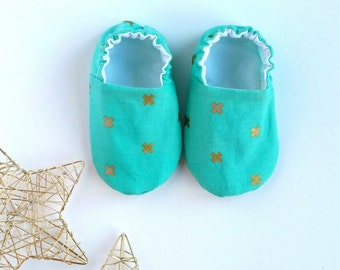 Reversible Baby Shoes, XOXO in Gold
