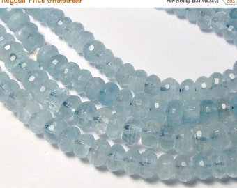 25% Off SALE Aquamarine Rondelle, Aquamarine Bead, 7.5mm, Rondelle bead, Natural Aquamarine, Superb Blue, Aquamarine ROndelle Bead