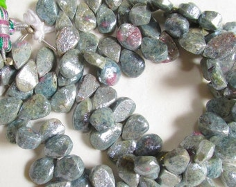 25% Off SALE Mystic Ruby Zoisite Briolette  Beads Gemstone, 1/2 Strand, 10mm 11mm Briolettes