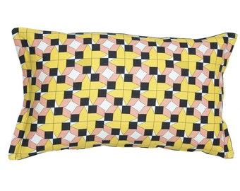 Geometric cushion, decorative coach pillows, housewarming gifts, yellow, black scatter cushion