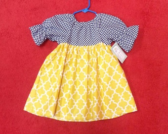 Peasant Dress - Navy Dress - Girls Spring Dress -  Beach Dress - Birthday Dress - Groovy Gurlz
