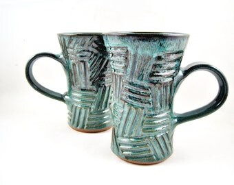 2 Pottery mugs, set of 2 Handmade mugs, Ceramic mugs, stoneware coffee mug, 16 oz. - In stock