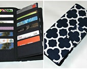Credit Card Organizer Wallet, Gift Card Holder, women's wallet 38 Credit Card Organizer, Quatrefoil Navy Business Card wallet Ready to Ship