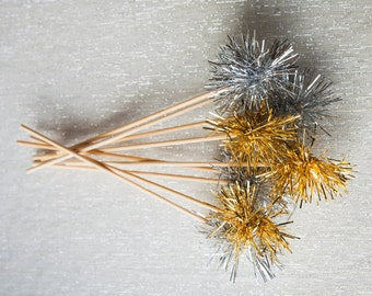 250 Gold or Silver Tinsel Drink Stirrers
