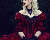 In Stock!  Gothic Victorian Steampunk Red Black 3 Piece Set One of a Kind!  Size Medium Free Jacket/Hat