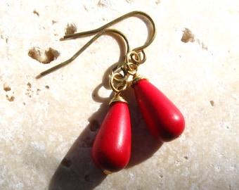 Red Howlite Drop Earrings