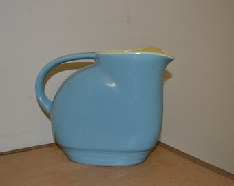 Vintage, Red Wing, Westinghouse Pitcher, blue with yellow inside