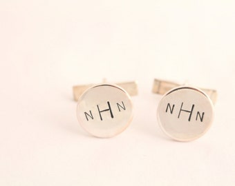 Monogram Cufflinks - Secret Message Cufflinks - Father's Day Gift For Dad - Cuff Links - Sterling Silver Men's Cuff Links - Personalized