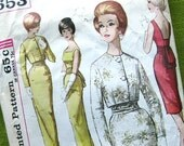 1960s Vintage Sewing Pattern - Evening Dress - Wiggle Dress with Obi Sash - Simplicity 4653 - Mad Men Style / Size 14