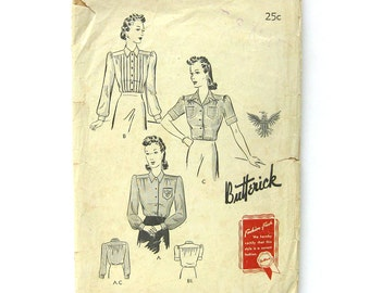 1940's Sewing Pattern Butterick #1377 / Tailored Blouse / Pin Tuck Blouse / Embroiderd Blouse / 32 Bust