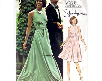 Vogue American Pattern 2976 - Stan Herman Designer - Misses' Bias Cut Tent Dress with Sash / Loungewear / Size 12