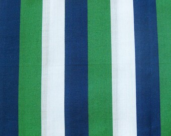Vintage Striped Cotton Fabric in Blue Green and White / Vintage Yardage
