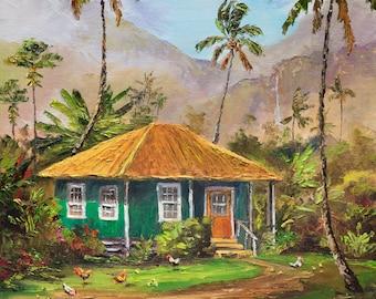 TROPICAL PLANTATION HOUSE Original Palette Knife Oil Painting 12x12 Art Chickens Hale Palm Tree Hawaiian Cottage Hawaii Island Mountains