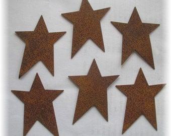 Twelve (12) Primitive Rusty Tin Stars Craft Supplies 2.50 Inch Scrapbooking Embellishments Whimsical