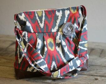 Handbag, Crossbody Purse, Messenger Bag, Medium Faux Leather Bag, Ikat Purse, Tribal Handbag, Vegan Leather, Pleated Purse