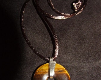 Gemstone Tigereye Pendant w/Sterling Silver Bail