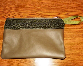 Olive Green LEATHER,Celtic Rope Embroidered Trim,Zip Bag