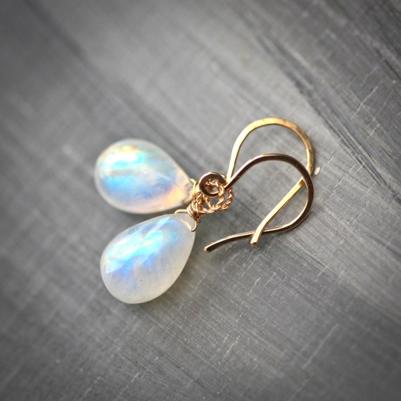 Moondrops - 14k Gold Filled Wire Wrapped Moonstone Earrings