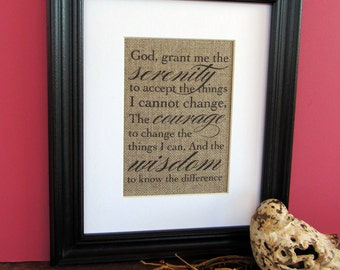 SERENITY PRAYER - burlap art print