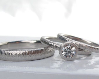 Platinum wedding ring set, low profile diamond engagement ring, bezel set GIA certified diamond, matching hammered textured wedding bands