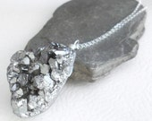 Sterling Silver Druzy Necklace, Crystal Titanium Pendant, Statement Jewelry