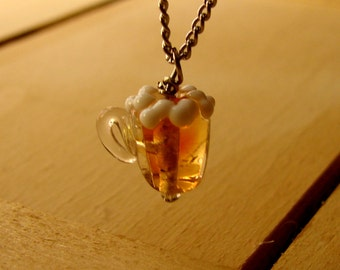 Miniature Glass Beer Mug Necklace - Beer... It's not just for breakfast anymore.