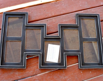 MULTI 7 Opening 5x7 distressed pine collage picture frame with the 5x7's in the portrait position...black..HANDMADE