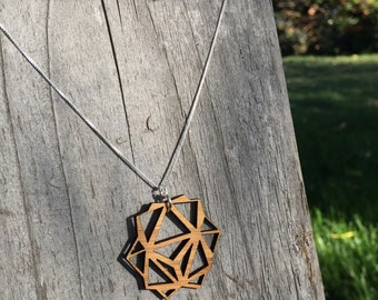 Bamboo Necklace, Lasercut Necklace, Modular Origami, Origami Necklace, Origami Jewelry, Modular Jewelry, Bamboo