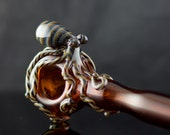 Octopus Large Glass Spoon Pipe Hand Blown Thick Wall in Amber & Artist Swirl, Ready to Ship #407