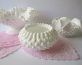 Vintage Fenton Milk Glass Hobnail Bowl Collection of Three