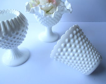 Vintage Fenton Milk Glass Hobnail Comport Vase Collection of Three