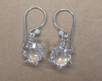 Sterling Silver Swarovski Snowflake Earrings