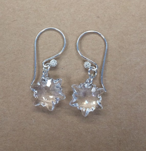 swarovski snowflake earrings sterling silver swarovski snowflake earrings 3556