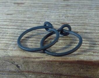 Hoop Earrings Black Niobium Plain - Active Hoops, Huggie Hoops, Everyday Hoops, Tiny Hoop Earrings, Small Hoop Earrings, Delicate Hoops
