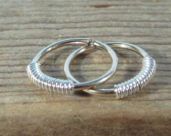 Hoop Earrings Gold with Silver Wrap Endless - Wrapped Hoops, Gold Hoop Earring, Tiny Hoop Earrings, Minimal Hoops, Simple Hoops, Small Hoop