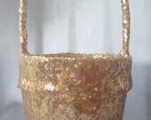 Gold Sequin Flower Girl Basket Sparkling Wedding Bridal Flower Girl Basket
