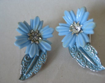 Flower Blue Silver Earrings Clip Vintage Clear Rhinestone Plastic