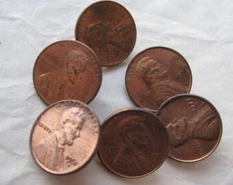 Penny Buttons Copper Vintage Six