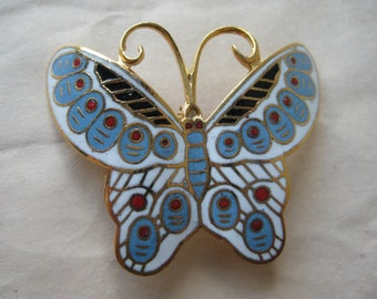 Butterfly Blue White Red Brooch Gold Enamel Vintage Pin Cloisonné Pendant