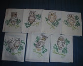 Vintage looking but New hand embroidered dish towels Set of 7   Owls  Item 108